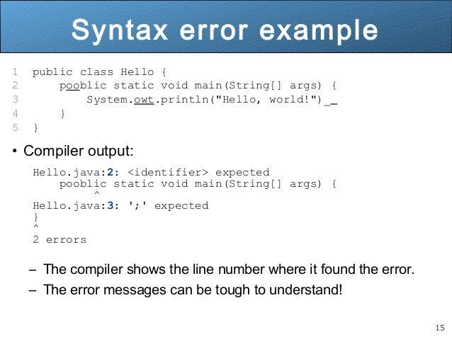 15 Syntax Error Example 1