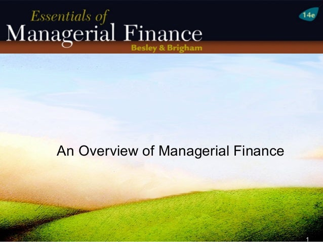 An Overview of Managerial Finance                                    1