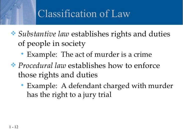 Difference Between Substantive and Procedural Law