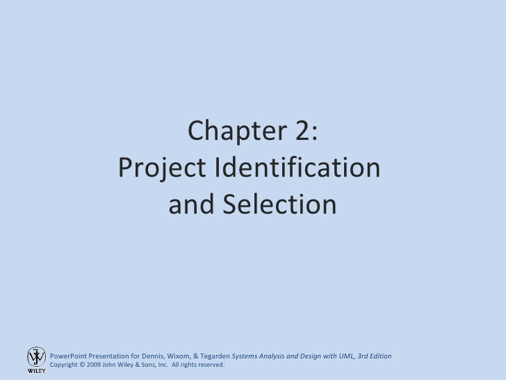 Chapter 2: Project Identification  and Selection