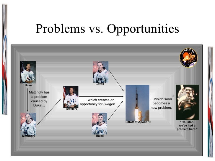 """Problems vs. Opportunities Duke Haise Lovell Mattingly Swigert Liftoff of Apollo 13 """" Houston, we've had a problem here."""" ..."""