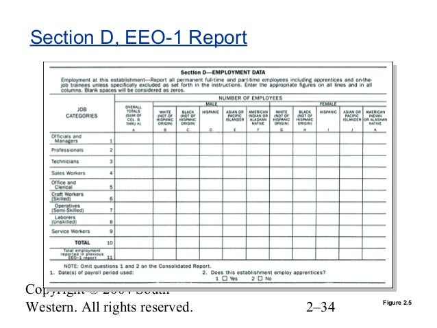 Sample Eeo 1 Report Sample Eeo 1 Report Table 5 White Male