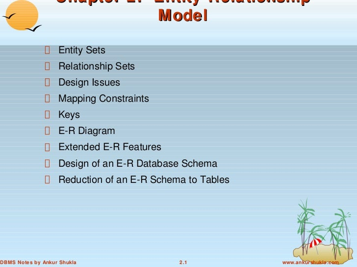 Chapter 2: Entity-Relationship                             Model                   Entity Sets                   Relations...