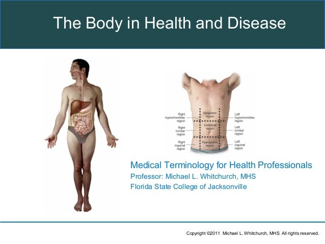 Copyright ©2011 Michael L. Whitchurch, MHS All rights reserved.Medical Terminology for Health ProfessionalsProfessor: Mich...