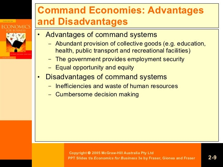 the advantages and disadvantages of command and market economies The advantages and disadvantages of  command economies have many advantages to  the advantages and disadvantages of traditional, command and.