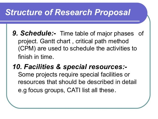 Research proposal schedule