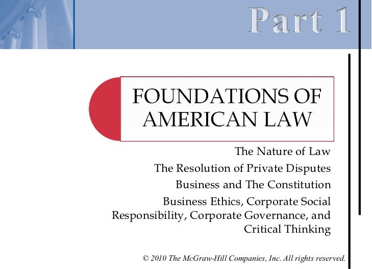 The Nature of Law       The Resolution of Private Disputes            Business and The Constitution         Business Ethic...