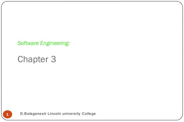 Software Engineering:Chapter 31 D.Balaganesh Lincoln university College