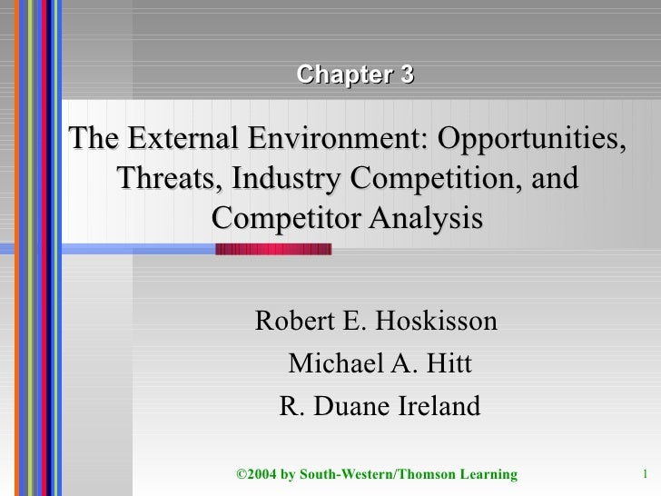 The External Environment: Opportunities, Threats, Industry Competition, and Competitor Analysis Robert E. Hoskisson  Micha...