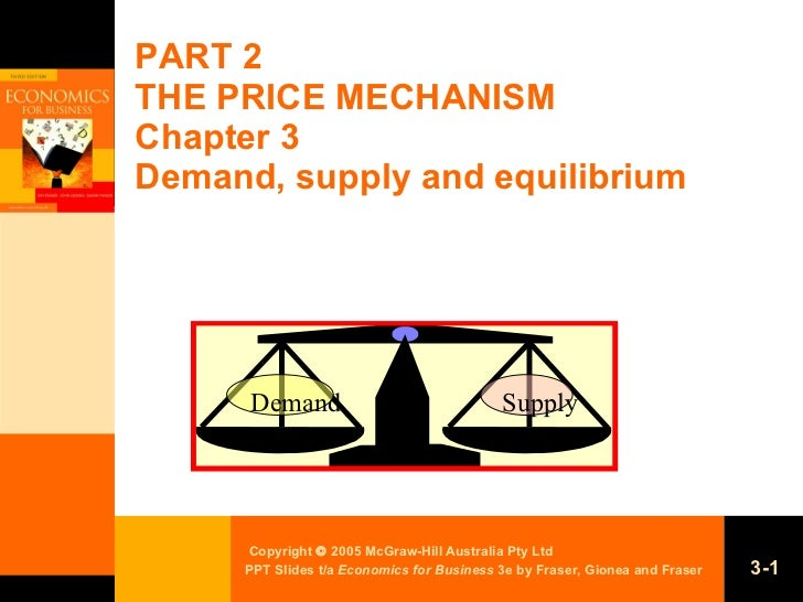PART 2 THE PRICE MECHANISM Chapter 3 Demand, supply and equilibrium Supply Demand