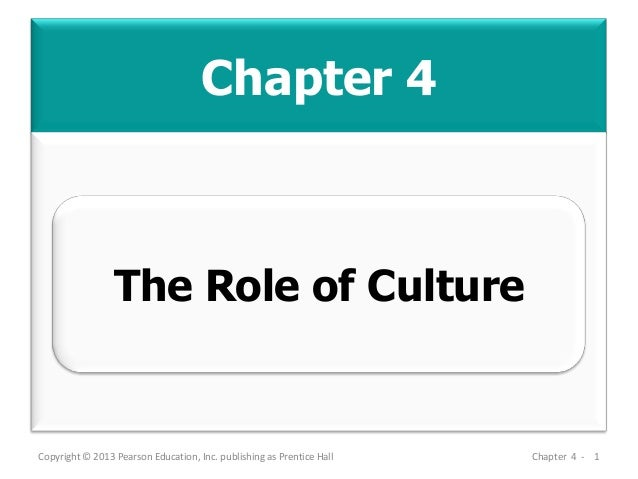 Chapter 4 Copyright © 2013 Pearson Education, Inc. publishing as Prentice Hall Chapter 4 - 1 The Role of Culture