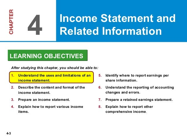 chapter 4 income statement The income statement is important because it provides investors and creditors with information questions chapter 4 (continued.