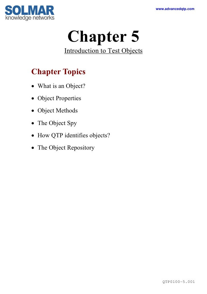 www.advancedqtp.com                  Chapter 5             Introduction to Test Objects   Chapter Topics  What is an Obje...