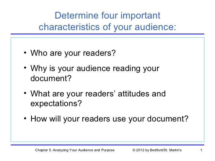 Determine four important     characteristics of your audience:• Who are your readers?• Why is your audience reading your  ...