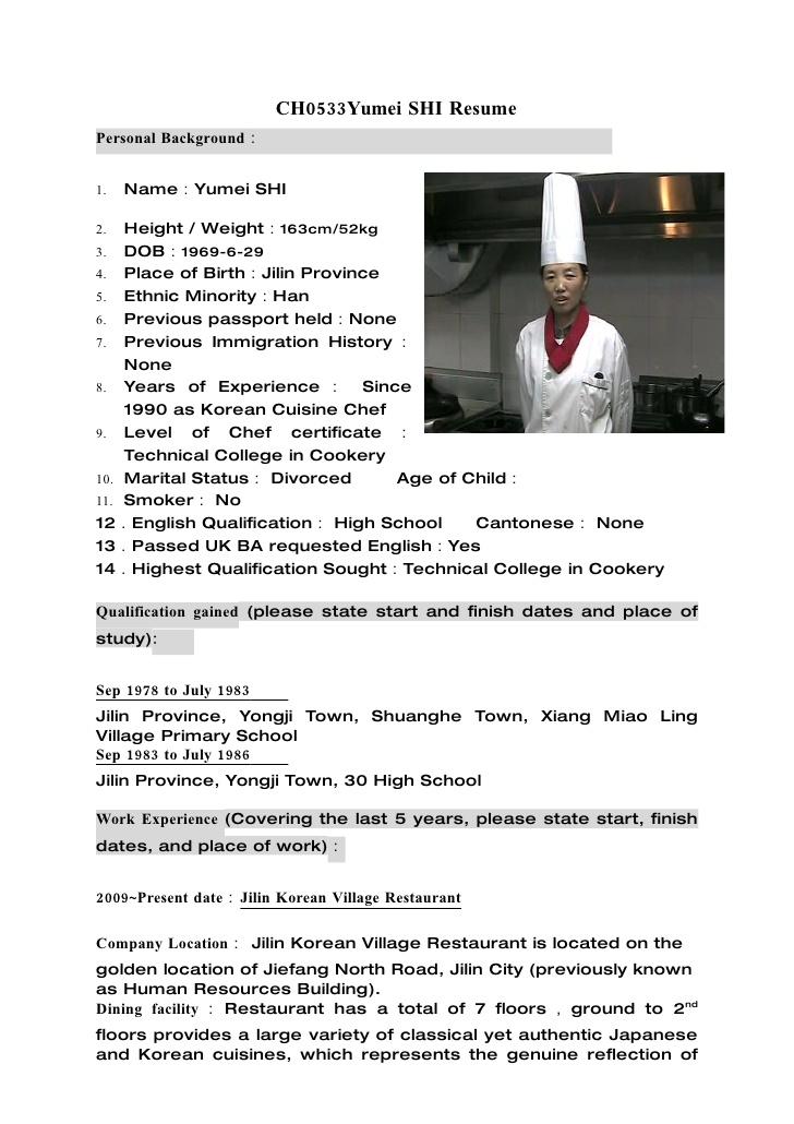 Chef Resume Samples Of Chef Resume Line Resume Samples Food Prep