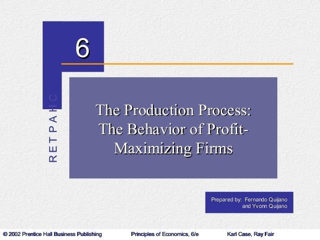 The Production Process: The Behavior of Profit Maximizing Firms