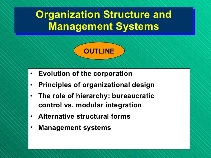 Organization Structure and Management Systems <ul><li>Evolution of the corporation </li></ul><ul><li>Principles of organiz...
