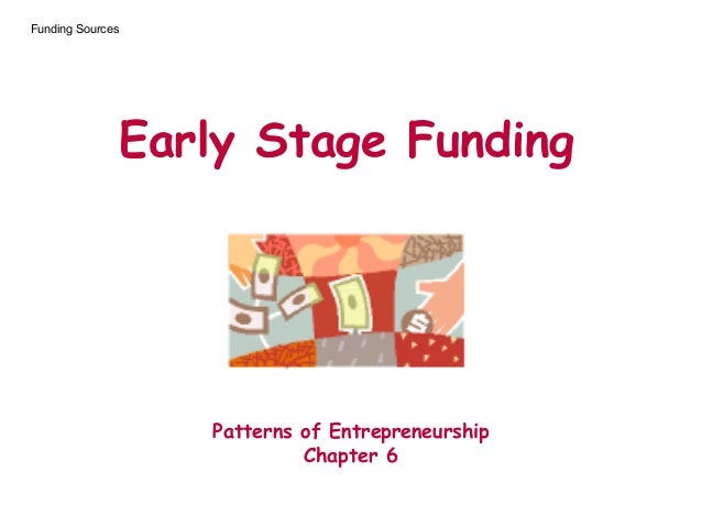Early Stage Funding Patterns of Entrepreneurship Chapter 6 Funding Sources