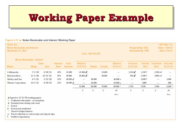 Ch06 modern auditing boynton for Audit workpaper template