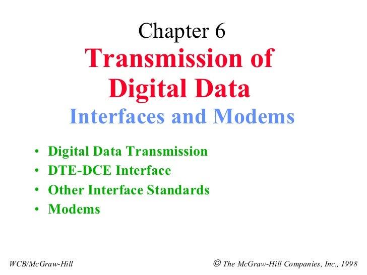 Chapter 6 Transmission of  Digital Data   Interfaces and Modems <ul><li>Digital Data Transmission </li></ul><ul><li>DTE-DC...