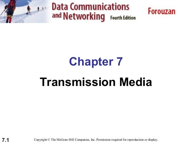 Chapter 7 Transmission Media  7.1  Copyright © The McGraw-Hill Companies, Inc. Permission required for reproduction or dis...