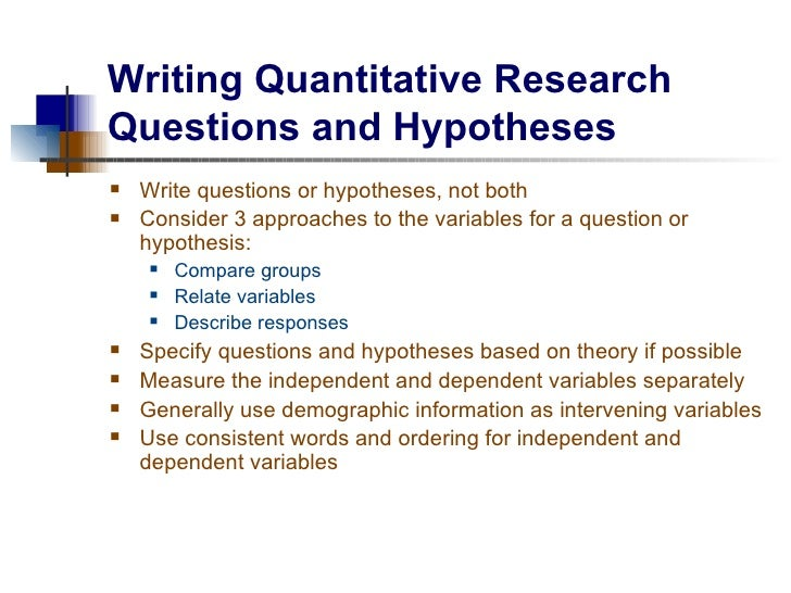 Writing An Hypothesis