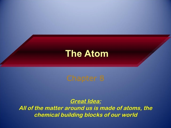 The Atom Chapter 8 Great Idea: All of the matter around us is made of atoms, the chemical building blocks of our world