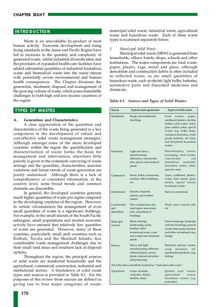 CHAPTER EIGHTINTRODUCTION                                             municipal solid waste, industrial waste, agricultura...