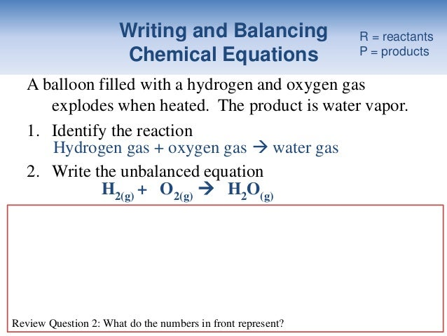 Oxygen Gas Balanced Equation For Hydrogen Gas And Oxygen Gas