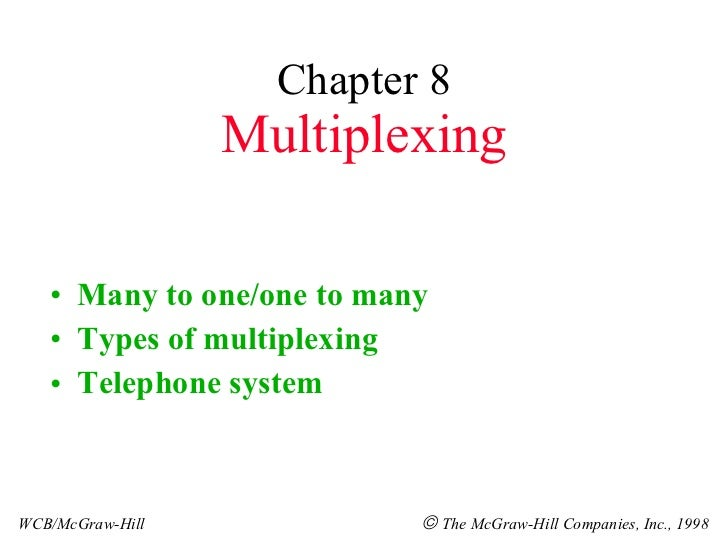 Chapter 8 Multiplexing <ul><li>Many to one/one to many </li></ul><ul><li>Types of multiplexing </li></ul><ul><li>Telephone...