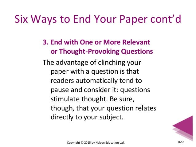 conclusion of a research paper should Components of a research paper  discussion/conclusion this section should be a discussion of the results and the implications on the field, as well as other .