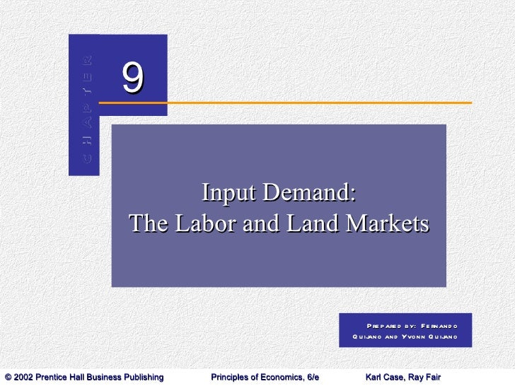 Input Demand: The Labor and Land Markets