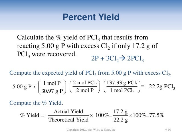 percent yield precipitate Start studying part 7 learn vocabulary, terms, and more with flashcards, games was the percent yield 825 % what is the percent yield of precipitate if a solution containing 334 g of sodium phosphate produced 196 g of precipitate when reacted with excess aluminum chloride in solution.