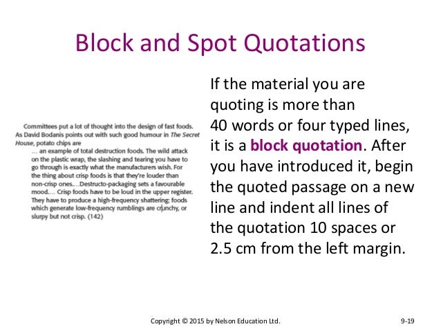put block quote essay How to use quotations in mla format (8th ed) through block quotations some of the more common interpolations occur when the essay writer wants to draw special.