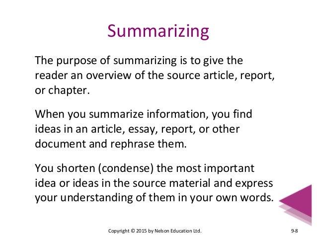 Summarizing an essay