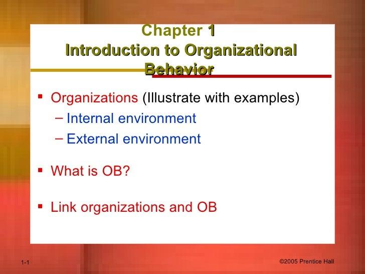 Chapter  1  Introduction to Organizational Behavior   <ul><li>Organizations  (Illustrate with examples) </li></ul><ul><ul>...