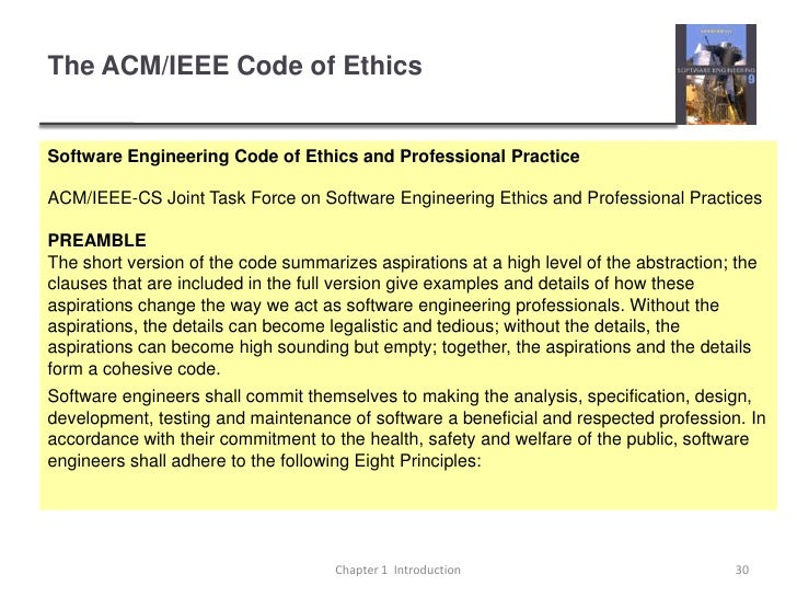 acm code of ethics Chapter 12 the ethical and legal implications of information technology   association for computing machinery (acm) code of ethics 24 imperatives of.