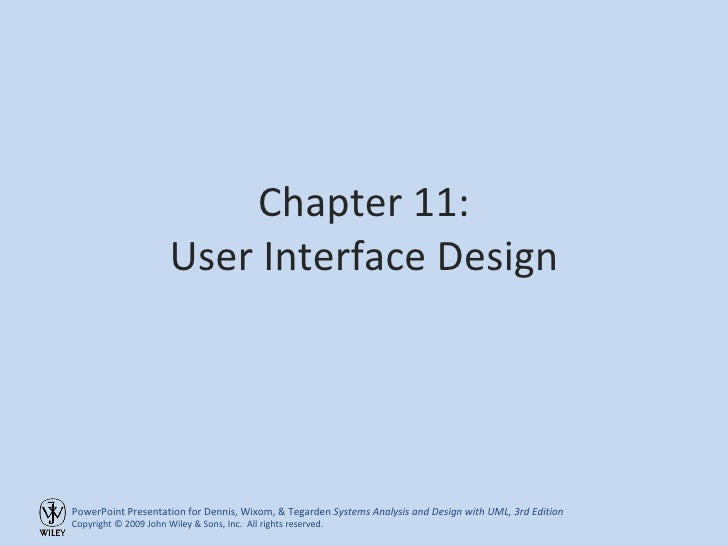 Chapter 11: User Interface Design