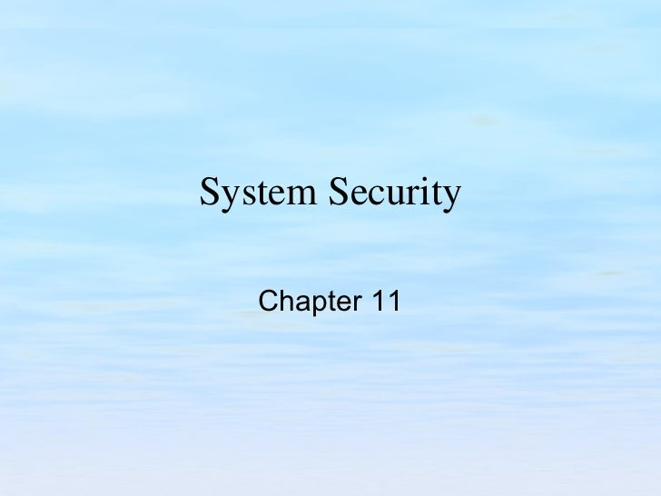 System Security Chapter 11