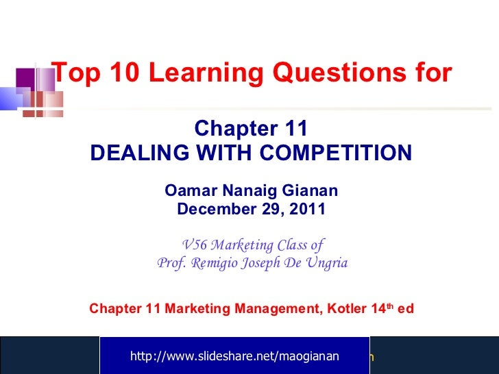 Top 10 Learning Questions for Chapter 11 DEALING WITH COMPETITION Oamar Nanaig Gianan December 29, 2011 V56 Marketing Clas...