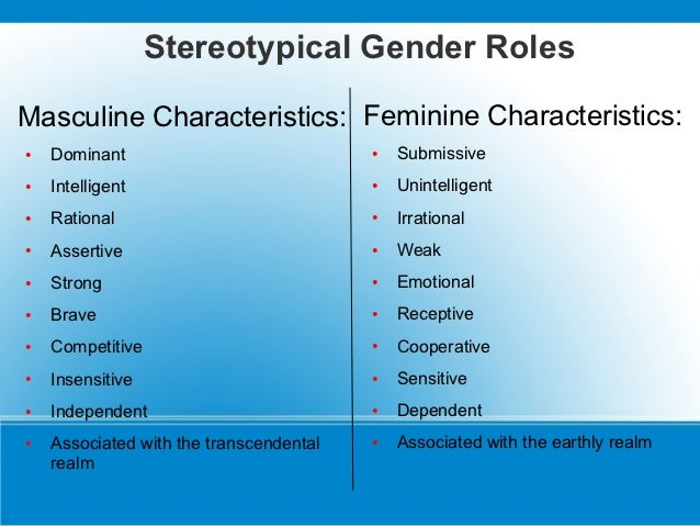 stereotypical gender characteristics Gender stereotypes: masculinity and femininity 159 7  gender-related behaviors thus become part of a pattern  characteristics provided the promise of happiness.