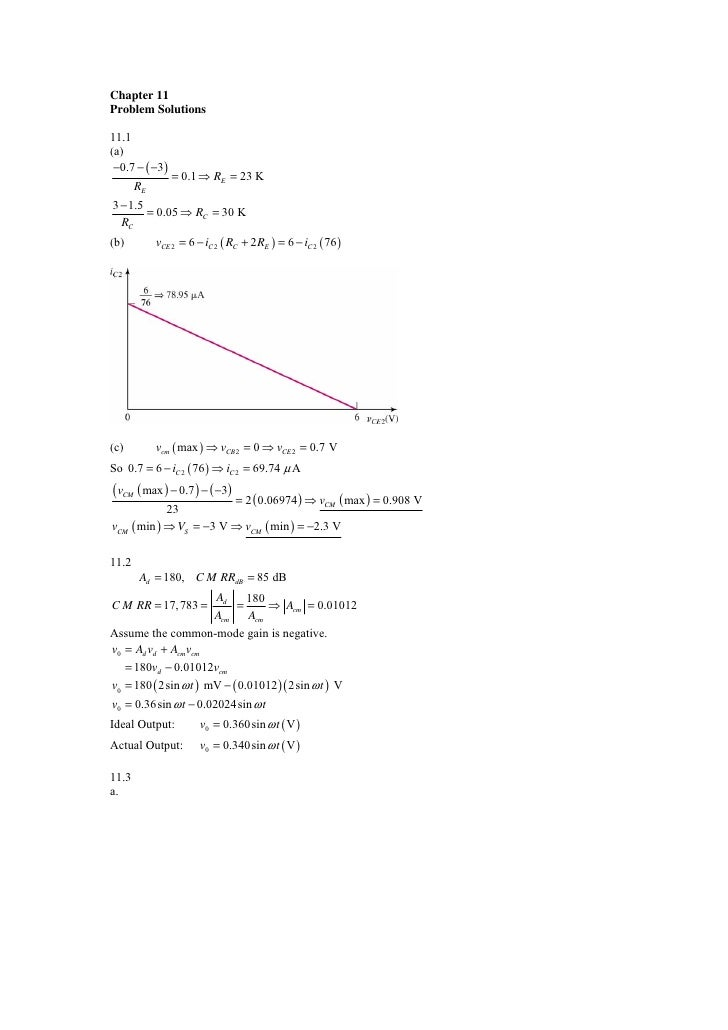 Chapter 11Problem Solutions11.1(a) −0.7 − ( −3)                = 0.1 ⇒ RE = 23 K       RE3 − 1.5        = 0.05 ⇒ RC = 30 K...