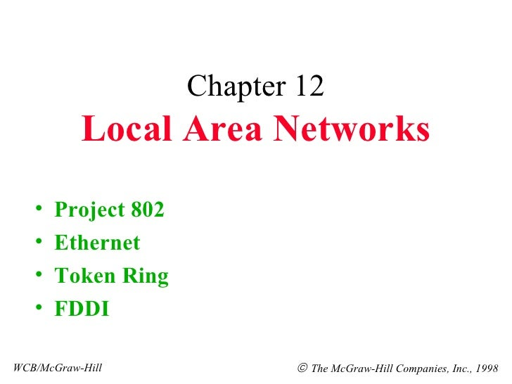 Chapter 12 Local Area Networks <ul><li>Project 802 </li></ul><ul><li>Ethernet </li></ul><ul><li>Token Ring </li></ul><ul><...