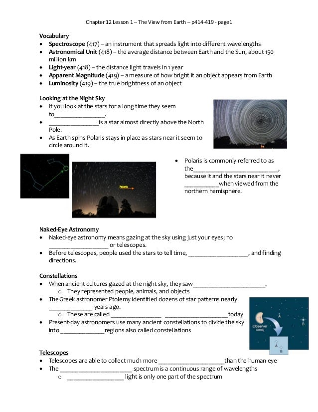 Chapter 12 Lesson 1 – The View from Earth – p414-419 - page1 Vocabulary  Spectroscope (417) – an instrument that spreads ...