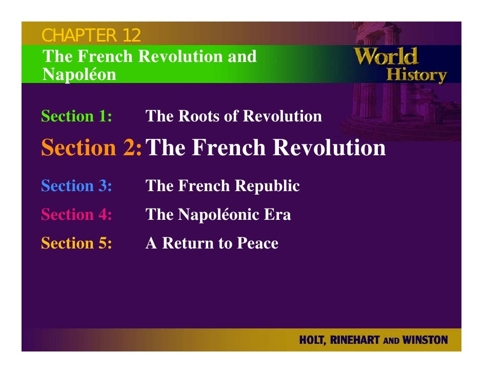 CHAPTER 12 The French Revolution and Napoléon  Section 1:   The Roots of Revolution Section 2:The French Revolution Sectio...