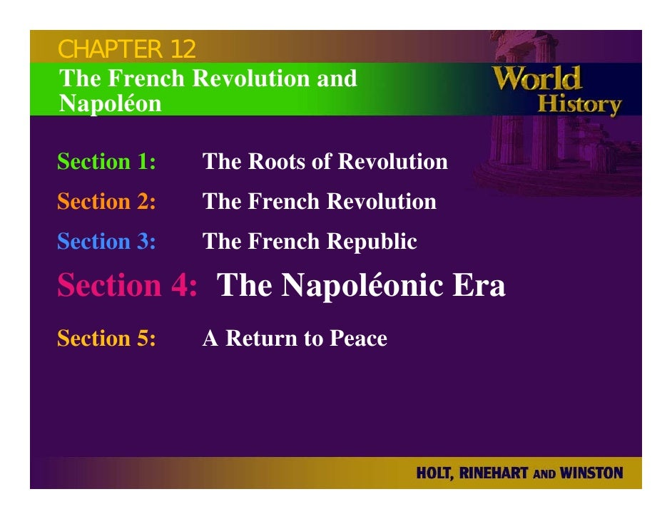 CHAPTER 12 The French Revolution and Napoléon  Section 1:   The Roots of Revolution Section 2:   The French Revolution Sec...