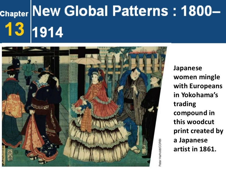 Japanesewomen minglewith Europeansin Yokohama'stradingcompound inthis woodcutprint created bya Japaneseartist in 1861.