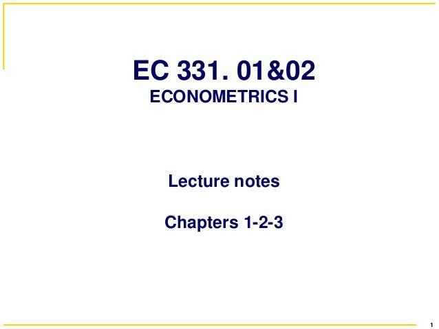 ECONOMETRICS I ASA