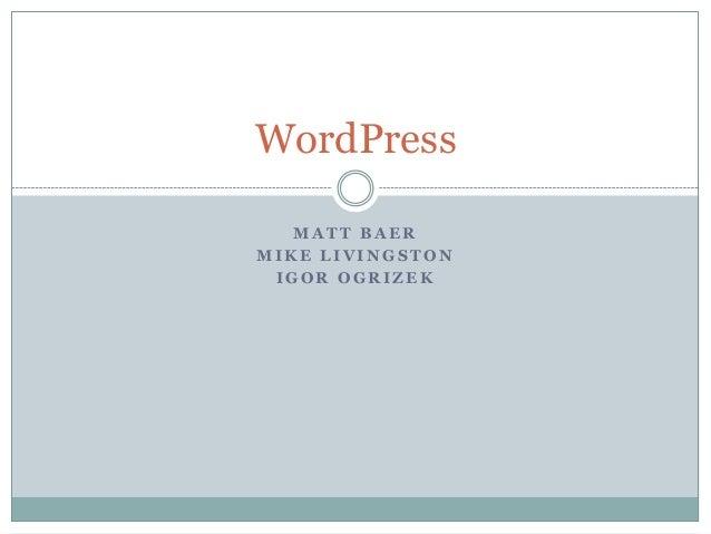 WordPress MATT BAER MIKE LIVINGSTON IGOR OGRIZEK