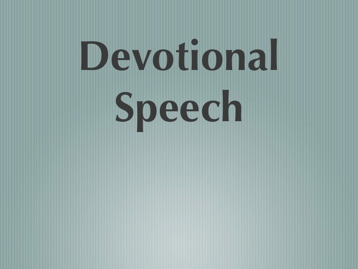 Devotional  Speech